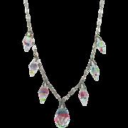 Vintage Art Deco Iris Glass Briolette Drop Necklace