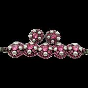 Vintage Lawrence Vrba Pink and Faux Pearl Rhinestone Bracelet and Earrings