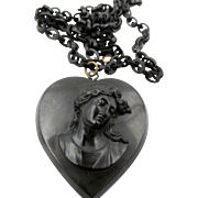 Victorian Whitby Jet Chain and Vulcanite Heart Cameo Necklace
