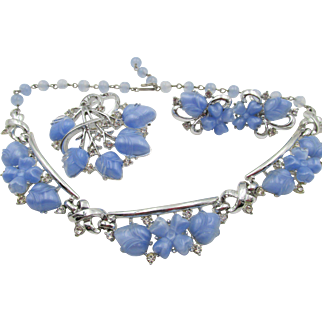 Vintage Signed Coro Light Sapphire Blue Moonstone Molded Glass Acorn and Crystal Rhinestone Necklace, Brooch and Earring Parure