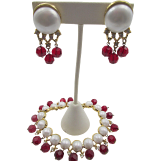 """Trifari 1958 """"Fascination"""" Faux Pearl and Red Beaded Bracelet and Earring Set"""