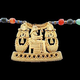 Vintage Signed Hobe' Egyptian Revival Necklace Carved Jade Beads