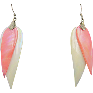 Vintage Mother of Pearl Dyed Coral Leaf Shaped Pierced Earrings