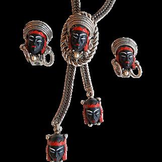 Vintage Selro Selini Blackamoor Princess Lariat Necklace and Earrings