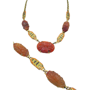 Vintage Art Deco  Carved Carnelian and Enamel Necklace and Bracelet