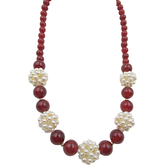 Estate Zoe B 14 Karat Yellow Gold Carnelian and Seed Pearl Cluster Necklace