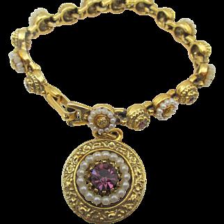 Vintage Signed ART Gold Plated Seed Pearl and Purple Rhinestone Charm Bracelet