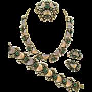 Vintage Signed Florenza Crescent Moonstone Art Glass Grand Parure