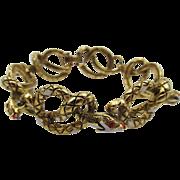 Vintage Signed Art Coiled Enamel Snake Bracelet