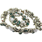 Vintage Lisner Emerald Green Rhinestone and  Faux Pearl Bracelet and Brooch