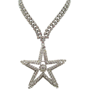 Vintage Signed Vogue Crystal Rhinestone Star Necklace and Detachable Pendant/Brooch