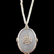 Vintage Art Deco Camphor Glass Marcasite Silver Pendant Necklace