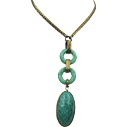 "Vintage Art Deco Czech Green Peking Glass Brass 26"" Necklace"