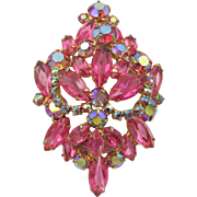 Vintage Delizza and Elster Juliana Pink Rhinestone Brooch