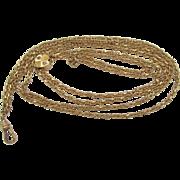 """Antique Victorian 14k Gold Filled Slider Watch Chain 50"""" Necklace HFB"""