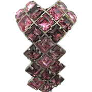 Vintage Reinad Pink and Purple Rhinestone Dress Clip Brooch