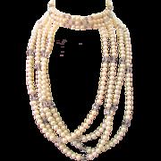 Vintage Hobe Faux Pearl Crystal Rhinestone Choker/Bib Unusual Necklace