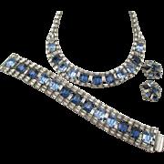 Vintage Hobe' Gorgeous Blue Rhinestone Baguette Necklace, Bracelet and Earring Parure
