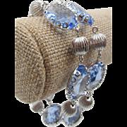 Vintage Coro Pegasus Light Blue Faceted Glass Bracelet