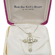 Vintage Rhinestone Cross Pendant with Lord's Prayer in Original Box