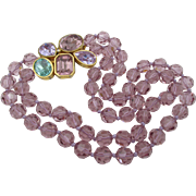 Vintage Signed Ciner  Double Strand Orchid Faceted Beads Knotted Gorgeous Rhinestone Clasp