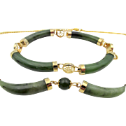Vintage Green Jade Chinese Export Bracelet and Necklace GF Set