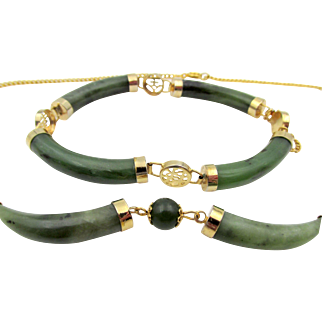 Vintage Green Jade Chinese Export Bracelet and Necklace GF Set
