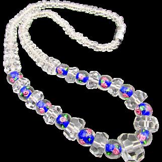 Vintage Venetian Murano Cut Crystal Wedding Bead Necklace