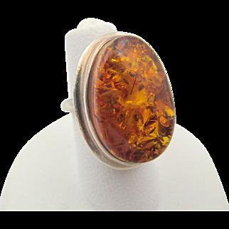 Vintage Sterling Baltic Amber Ring