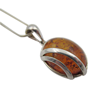 VIntage Sterling Silver Baltic Amber Necklace