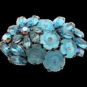 Vintage Aqua Blue Camphor Glass Brooch