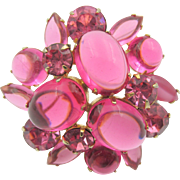 Vintage Fuschia Pink Glass Cabochon Rhinestone Domed Brooch