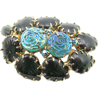 Vintage Blue Molded Rose and Green Cabochon Brooch