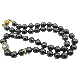 Estate Hematite Beaded Knotted Necklace