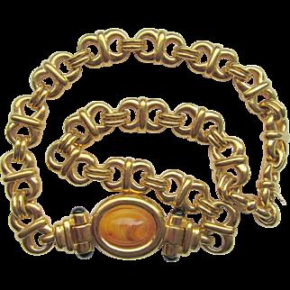 Vintage Ciner Butterscotch Cabochon Linked Necklace