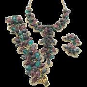 Vintage DeLizza & Elster Juliana Purple and Green Mardi Gras 1961 Necklace, Bracelet and Earring Set