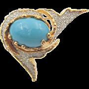 Vintage Jomaz Turquoise and Rhinestone Elegant Brooch