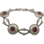 Vintage Pennino Signed Crystal and Red Rhinestone Bracelet