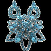Vintage Aqua Blue Rhinestone Brooch and Earring Set