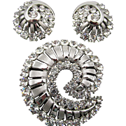 Vintage Crown Trifari Silver Tone Swirl Rhinestone Brooch and Earrings