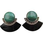 Vintage Art Deco Marcasite, Malachite and Onyx Sterling Pierced Earrings