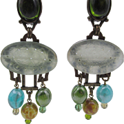 Estate Signed Philippe Ferrandis Paris Etched Jade Chandelier Earrings