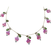 Antique French Pink and Green Layered Floral Glass Wire Necklace