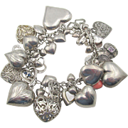 Vintage Sterling Silver 50+ Puffed Hearts Charm Bracelet