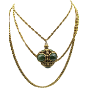 Vintage Goldette Triple Chain Green Cabochon Long Necklace