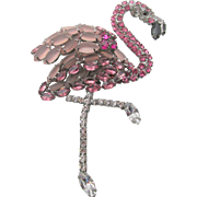 Signed Moans Couture Five Inch Pink Flamingo Brooch