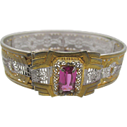 Vintage JJ White Art Deco Silver and Gold-tone Filigree Bangle Bracelet Pink Stone