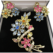 Vintage Corocraft Pastel Floral Brooch and Earrings