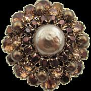 Vintage Signed Schreiner Chocolate Rhinestone Pearl Brooch