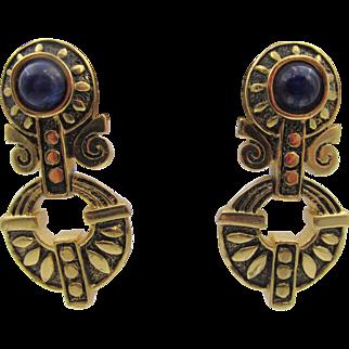 Vintage Guy Laroche Paris Etruscan Style Faux Lapis  Drop Earrings